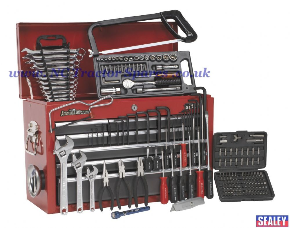 Topchest 9 Drawer with Ball Bearing Runners - Red/Grey & 196pc Tool Kit